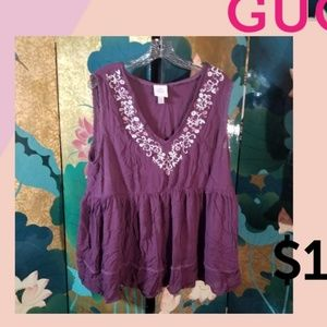 Purple sleeveless babydoll top
